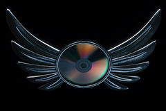 Conceptual cd disk emblem with metallic wings 3d render version Stock Photography