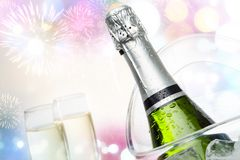 Conceptual celebraction with champagne. Royalty Free Stock Images