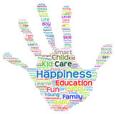 Conceptual child education hand print word cloud isolated Stock Photos