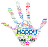 Conceptual child education hand print word cloud isolated Stock Photography