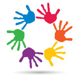 Conceptual children painted hand print isolated Stock Photo