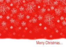 Conceptual christmas card. Illustration of the conceptual christmas card with the white snow flakes on the red background Royalty Free Stock Photography