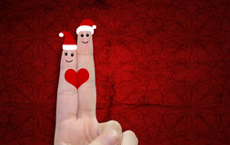 Conceptual Christmas fingers in love Stock Photo