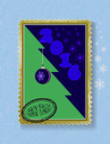 Conceptual Christmas tree on Christmas and New Year. Card in the form of a postage stamp, painted toys, tree, stamp Royalty Free Stock Photo