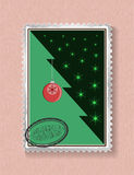 Conceptual Christmas tree on Christmas and New Year. Card in the form of a postage stamp, painted toys, tree, stamp Stock Photo