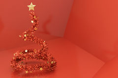 Conceptual Chrstmas Tree. Conceptual christmas tree over a vivid red background royalty free illustration