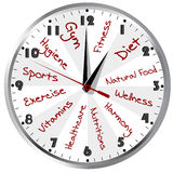 Conceptual clock for a healthy life Royalty Free Stock Image