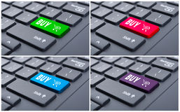 Conceptual collage of buy button on keyboard Royalty Free Stock Photography