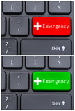 Conceptual collage of emergency green and red button. On keyboard with cross symbol Stock Photo