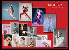 The conceptual collage about sorrows and joys of ballerina. The conceptual collage about heaven and hell of young classical ballerina. The concept of joys and Royalty Free Stock Images