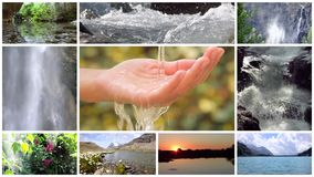 Conceptual collage, water is life on our planet. Water is the most precious asset on the planet, montage stock video