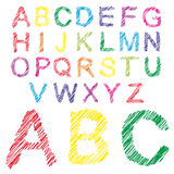 Conceptual collection of colorful handwritten, sketch or paint fonts Stock Photo