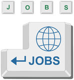 Conceptual Computer Enter Key. Conceptual computer / PC keyboard's Enter key and four other keys emphasizing global employment / unemployment Royalty Free Stock Photography