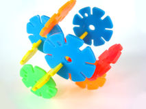 Conceptual construction. Made from plastic wheels Stock Image