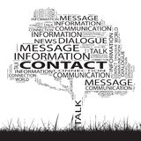 Conceptual contact technology tree word cloud. Grass background royalty free stock photos