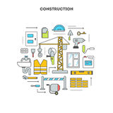 Conceptual contour isolated set icons. Concept set tools and objects for building construction and repair, preparation installation of plumbing, windows, work Stock Photography
