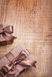 Conceptual copyspace photo two brown paper Royalty Free Stock Photos