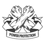 Conceptual crossed fists in protection. Vector illustration in black and white  style. Vector illustration in black and white   style of a clenched fist held Royalty Free Stock Photos