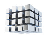 Conceptual cube on white background. 3d rendering.  royalty free illustration