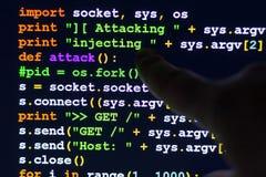 Conceptual cyber attack code. Stock Image