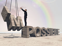 Conceptual 3D business man over abstract stone impossible text. Conceptual 3D business man standing over abstract stone impossible text over sky Stock Photos