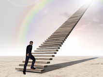 Conceptual 3D business man walking or climbing stair over rainbow sky. Conceptual 3D business man walking or climbing stair on rainbow sky background with clouds Royalty Free Stock Photo