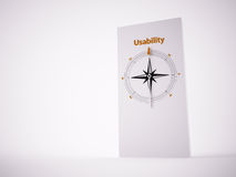Conceptual 3D Compass. Conceptual 3D render image with a frameless Compass focus on the word usability Stock Photo