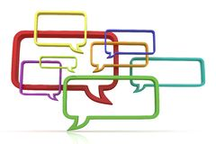 Conceptual 3d illustration of speech bubbles. Front view Royalty Free Stock Photos