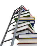 Conceptual 3d model stack of books and a ladder on white backgro. Und Royalty Free Stock Images