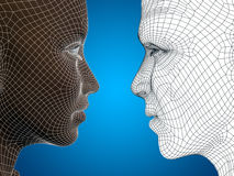 Conceptual 3D wireframe or mesh human male and female head Royalty Free Stock Photos