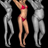 Conceptual 3D woman as fat vs fit anorexic. Conceptual 3D woman or girl as fat, overweight vs fit healthy, skinny underweight anorexic Royalty Free Stock Images