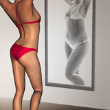 Conceptual 3D woman as fat vs fit underweight anorexic. Conceptual 3D woman, girl as fat overweight vs fit healthy  underweight anorexic female before and after Stock Images