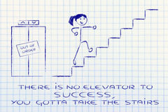 Conceptual design representing steps to reach success. There is no elevator to success, take the stairs Stock Images