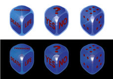 Conceptual dice set on black and white background Royalty Free Stock Image