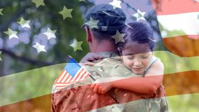 Conceptual digital animation showing a child hugging the American soldier on home returning
