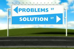 Conceptual direction signs lead to problems or solution Stock Photo