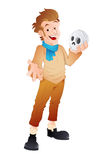 Fortune Teller. Conceptual Drawing Art of Cartoon Fortune Teller Character with Skull Vector Illustration Stock Photo