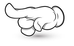 Cartoon Hand - Finger Pointing Art - Vector Illustration Stock Photo