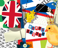 British Easter. Easter holiday collage with british symbolics, vector Royalty Free Stock Photography