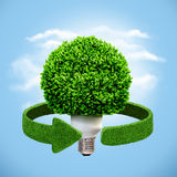 Conceptual eco energy. Lamp and green arrows from the grass. Recycling concept Stock Image