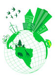 Conceptual ecologic. Illustration with globe Stock Images