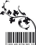 Conceptual ecological illustration barcode with floral branch. Stock Photo
