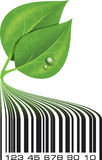 Conceptual ecological illustration barcode with green leafs and. Drops Stock Image
