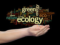 Conceptual ecology word cloud isolated Stock Images