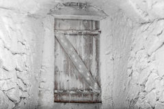Conceptual entrance door in winter Royalty Free Stock Photos