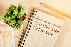Conceptual entre la vida activa y la vida lenta Imagen de archivo libre de regalías