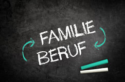 Conceptual Family and Job Written on Chalkboard. Conceptual Family and Job Message in German Language with Cycle Arrows Written on Black Chalkboard with Two Royalty Free Stock Photos