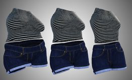 Overweight obese female clothes outfit vs slim fit healthy body. Conceptual fat overweight obese female clothes outfit vs slim fit healthy body after weight loss Royalty Free Stock Photography