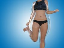 Overweight female vs slim fit body after weight loss Royalty Free Stock Photos