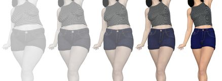 Overweight obese female vs slim fit healthy body. Conceptual fat overweight obese female vs slim fit healthy body after weight loss or diet with muscles thin vector illustration